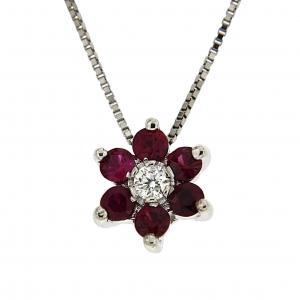 Pendente con diamanti e rubini  Linea Lisa