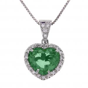 Pendente Cuore con Diamanti e Smeraldo