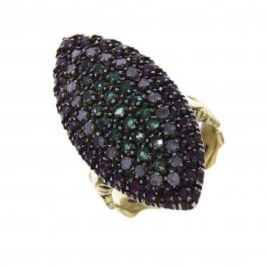 Anello Stile Antico Oro 18kt con 22 Diamanti 21 Smeraldi e 26 Rubini