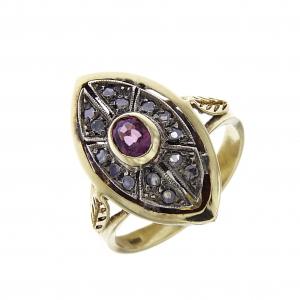 Anello Stile Antico in Oro 18kt con 14 Diamanti CT 0.18 e Rubino CT 0.60