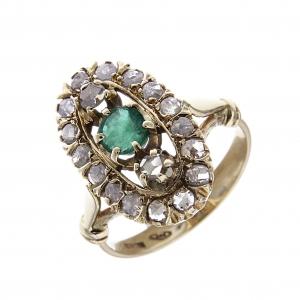 Anello Stile Antico in Oro 12kt con 18 Diamanti CT 0.50 e Smeraldo CT 0.75