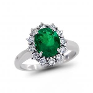 Anello con Diamanti e Smeraldo Linea Antea