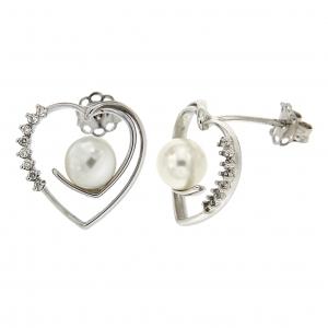 Orecchini cuore con diamanti e perle