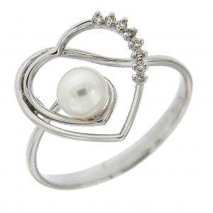 Anello cuore con diamanti e perle