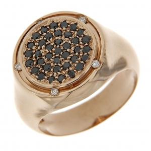 Anello con Diamanti Neri e Bianchi in Oro Rosa