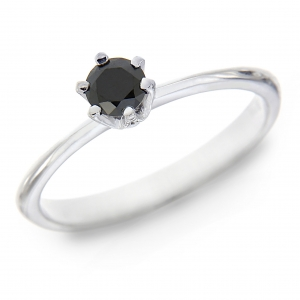 Anello Solitario con Diamante Nero CT 0.30 Linea Emily