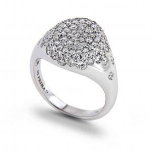 Anello in oro Bianco con Diamanti Linea Chevalier