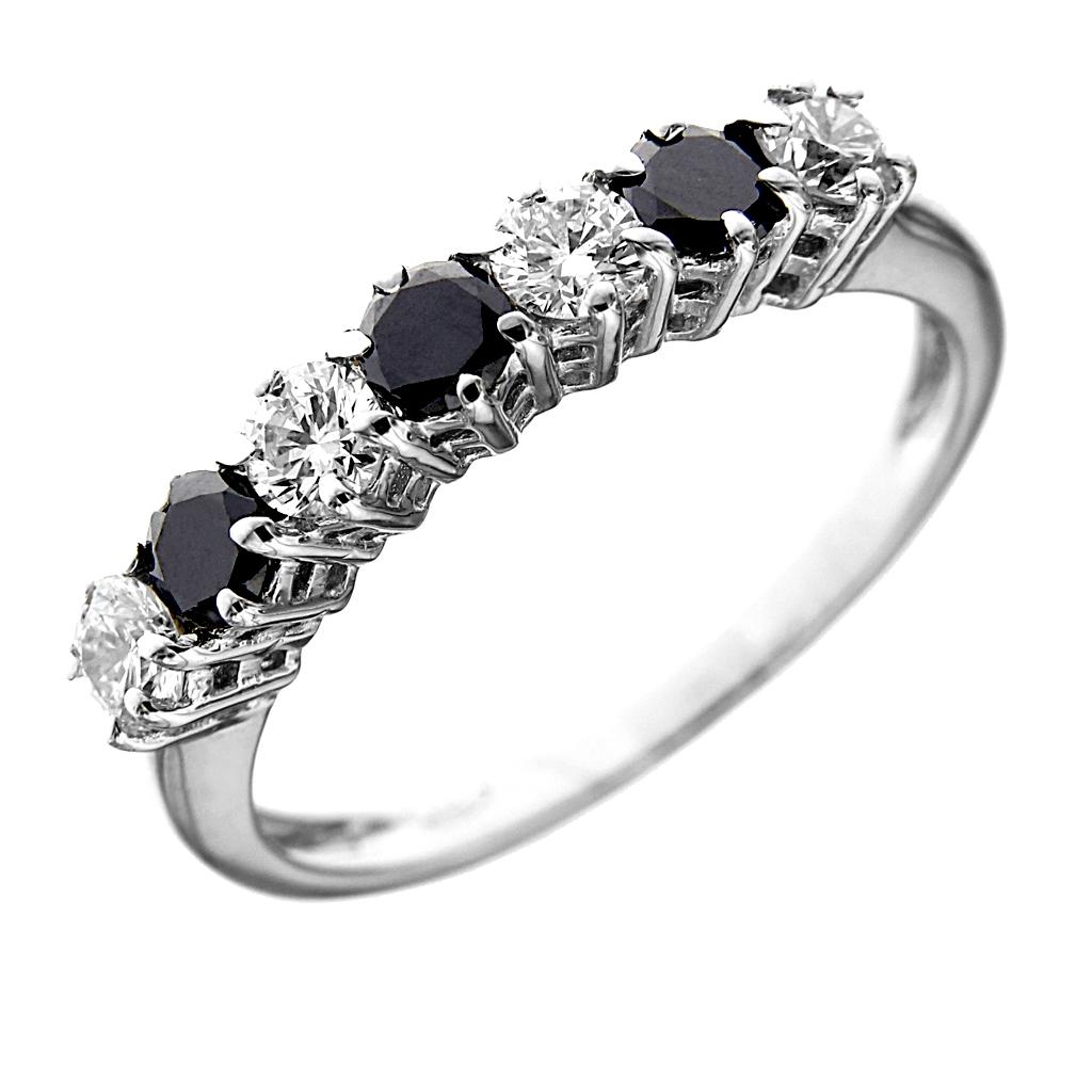 abbastanza Anello Veretta 7 Pietre Con 4 Diamanti CT 0.60 e 3 Diamanti Neri  PX89