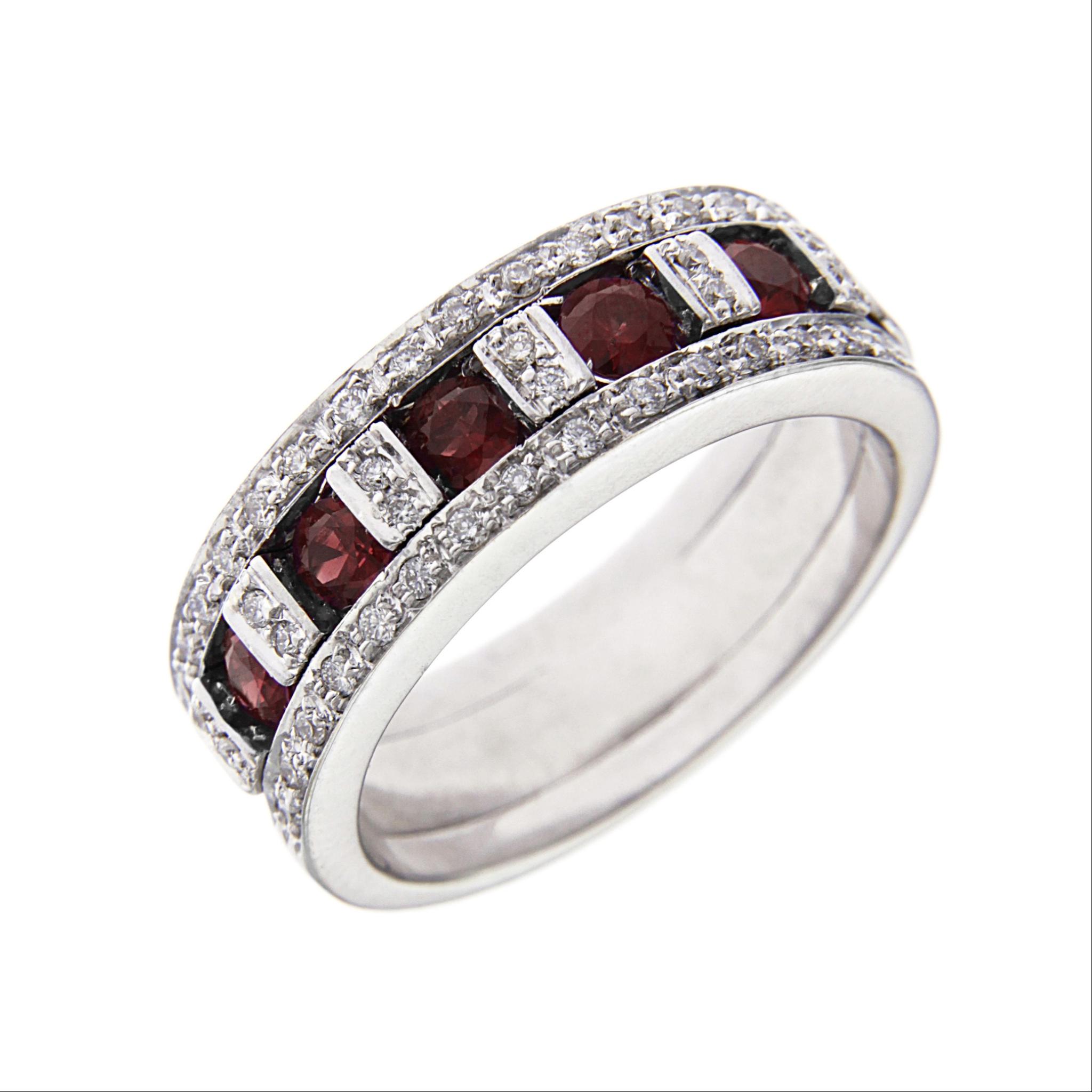 Estremamente Anello Fascia con 45 Diamanti CT 0.30 e 5 Rubini CT 0.19  BI29