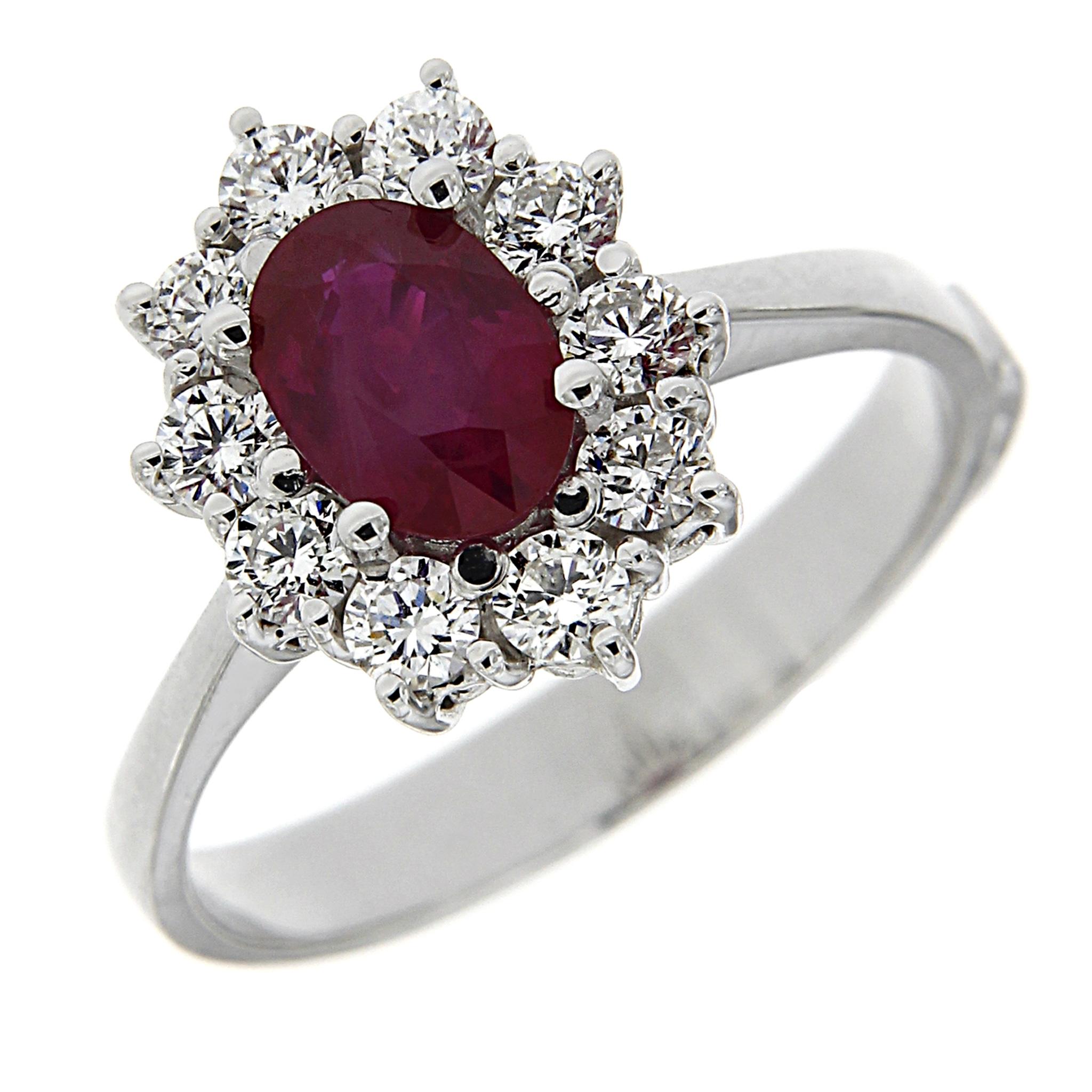 anello in oro bianco con rubino diamanti linea katia