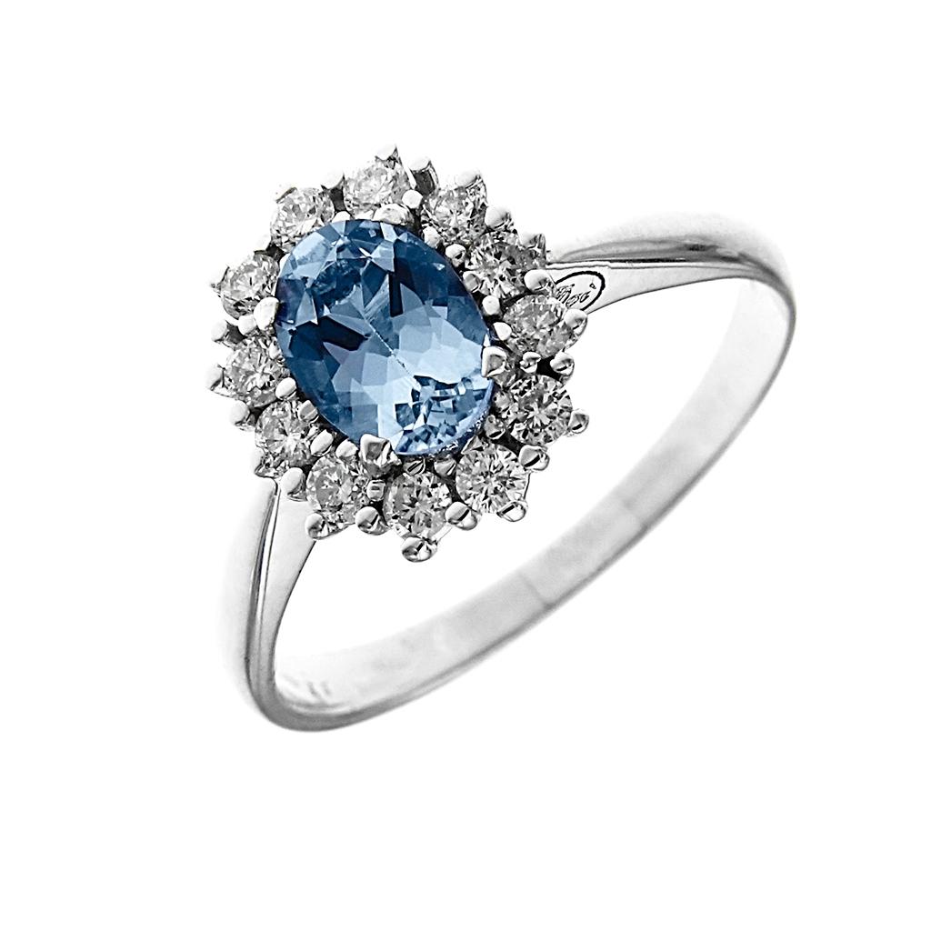 Anello in oro acquamarina e diamanti Linea Antea