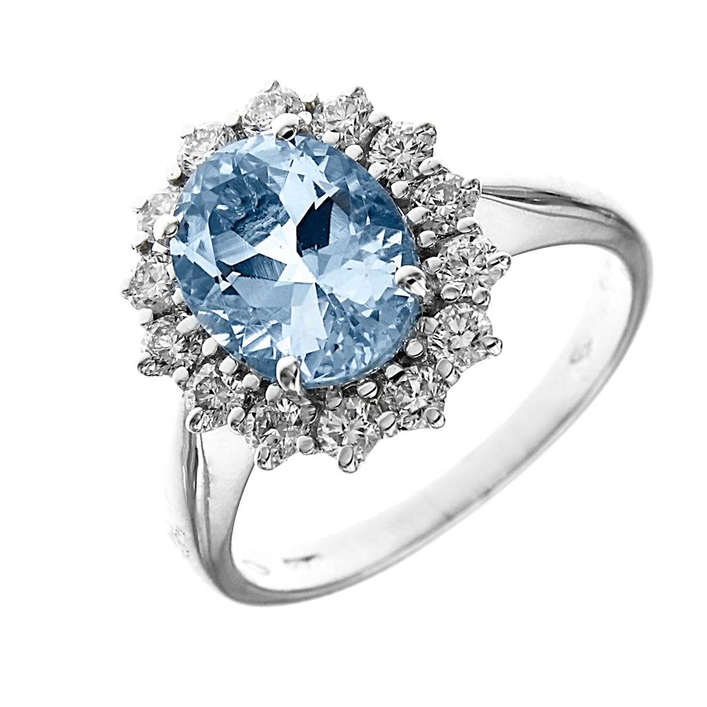 Anello con acquamarina e diamanti Linea Anita