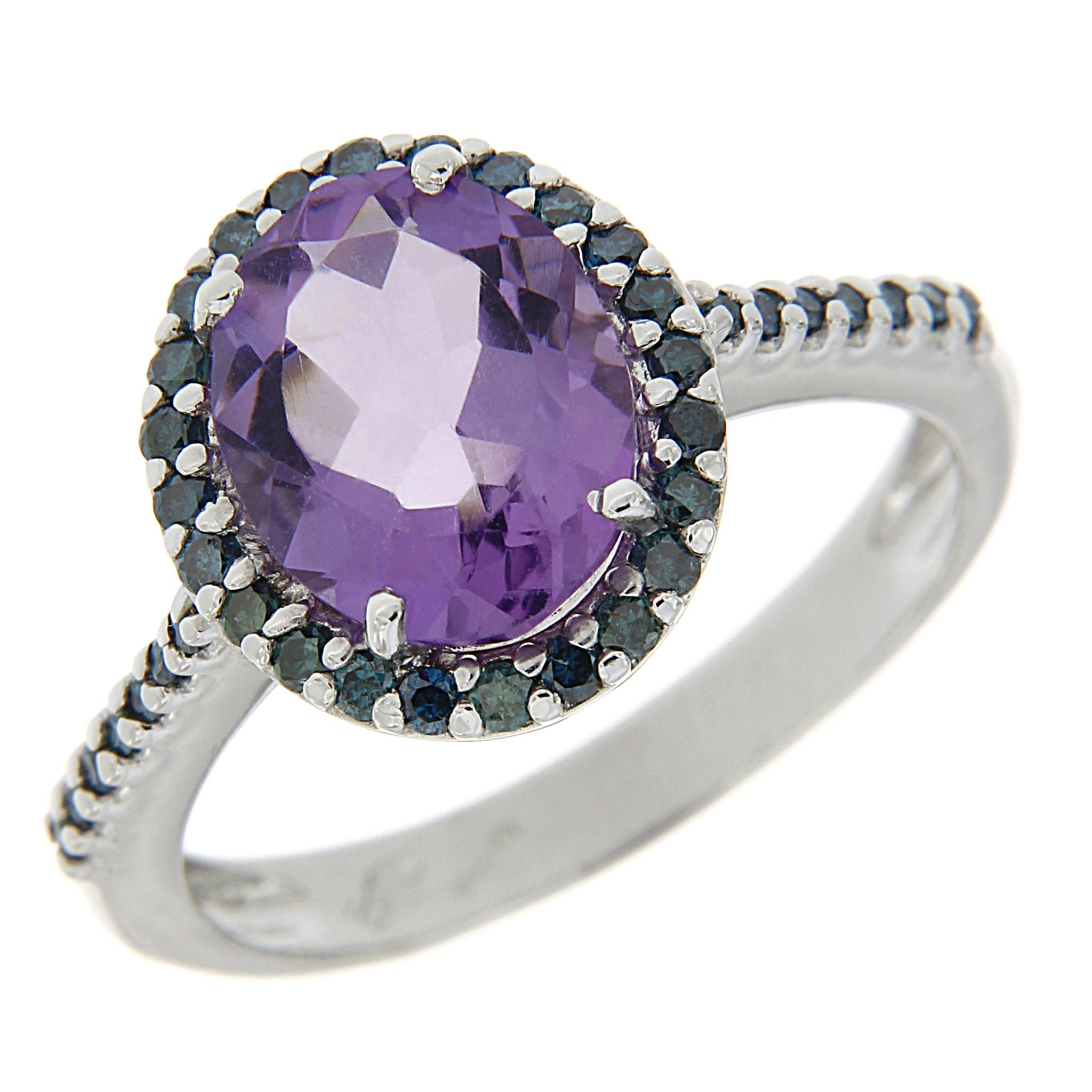 Anello con Ametista e Diamanti blu Linea Iole